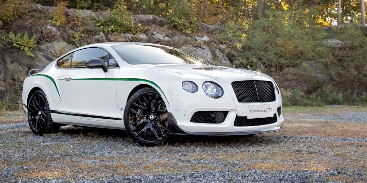 The Bentley Continental GT3-R makes its dynamic debut on the ice. Photo by Bentley Motors